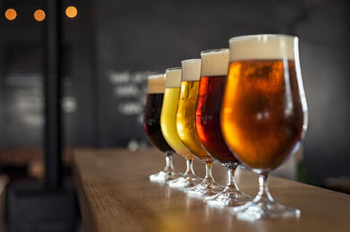 Different styles of beer glasses