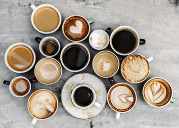 varying types of coffee in cups