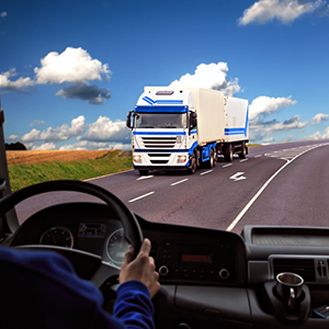 Truck driving on the road